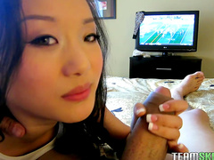 Asian beauty is riding on the big prick