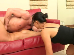 Asian pornstar blows a meaty stick before having anal