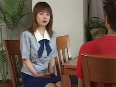 Office scene on a table with cute japanese girl