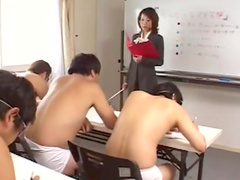 Japanese teacher swallows sperm in the classroom
