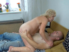 Curly-haired blonde is being fucked so nice