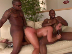 Aline fucks with two big black dicks