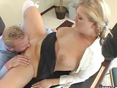 Blonde pornstar Daryn Darby bangin with her boss