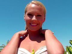 Smiling babe Susane takes off her pink panties