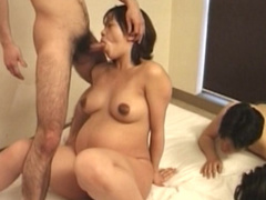 Japanese pregnant chick swallows some juice