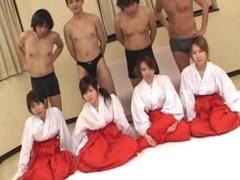 Japanese guys having group sex in one room