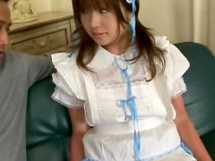 Japanese teen Andou Natsu is poking her hairy hole