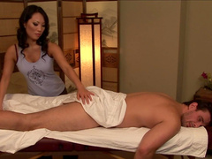 Asa Akira is riding on Manuel Ferrara's dick