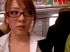 Public blowjob with a busty Japanese whore