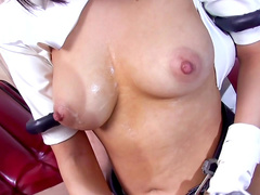 Cream on her big tits while sucking
