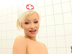 Pretty blonde Maya is a slender nurse