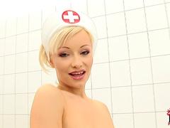 Pretty blonde Maya is a slender nurse