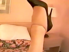 Hotel room pantyhose tease is sexy