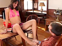 Lustful brunette slur slurps on throbbing stiff meat rod