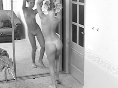 Solo teen models in mirror