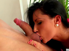Busty chubby brunette Melissa Ria is getting drilled so hard