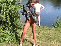 Sexy babe Olga and nice public fingering