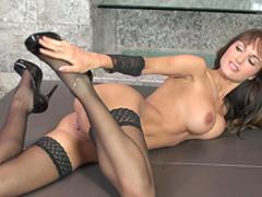 Pornstar Roxanne Milana penetrates her nice vagina