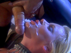 Alluring blonde with big tits is fucking in doggy style