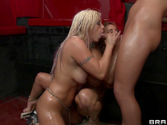 Blondes are sucking one cock together
