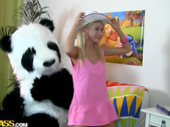 Skinny blonde is fucking with panda