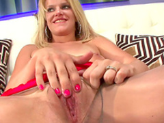 Spicy blonde with small tits is masturbating