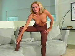 Slender blonde shows a gorgeous foot fetish