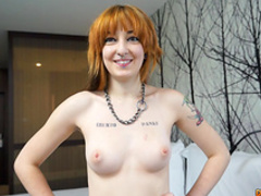 Tattooed redhead pornstar with nice natural tits fuck in doggy style