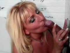 Blonde Love is sucking this hard pole