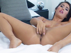 Eva Lovia shows her accurate trimmed pussy