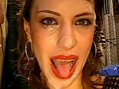 Sexy chick with red lips Irina is swallowing