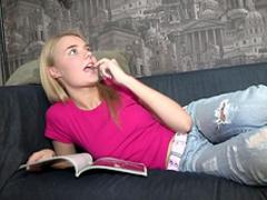 Skinny blonde Ira fuck on the black sofa