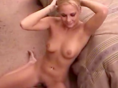 Amateur blonde is giving a deep blowjob
