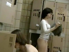 Sweeties are posing naked in the locker room