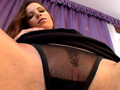 Hot nasty babe Peaches masturbates her shaved pussy