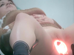 Sexy babe nice shaved pussy in the medical chair