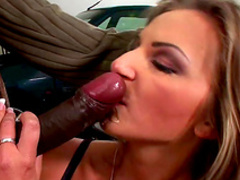 Cute blonde Francesca Felucci is sucking a black dick