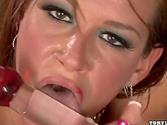 Spicy brunette impales her tight anal hole
