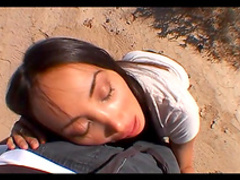 Asian pornstar is sucking so sexy in the desert