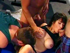 Two hardcore fucker are cumming on the face of this brunette