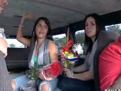 Pretty girl sucks in van