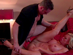 Curly Amber Lynn being banged by repairman