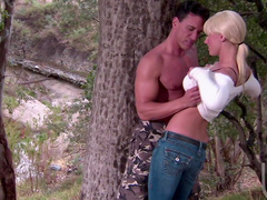 Sexy blonde Tanya James is making a perfect blowjob