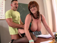 Sandra Boobies gets dick in her pussy right in the classroom