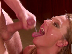 Nasty milf Brenda James gets cum in her mouth